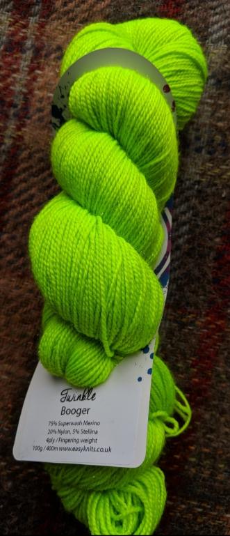 EasyKnits Twinkle sock yarn in Booger