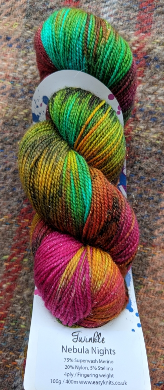 EasyKnits Twinkle sock yarn in Nebula Nights