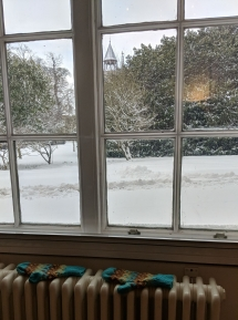The view from my office before I was sent home on the first snow day