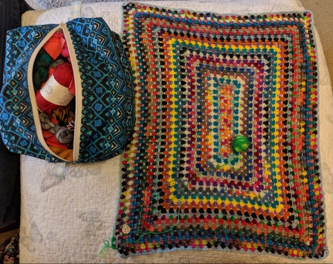 Scrappy granny spiral blanket
