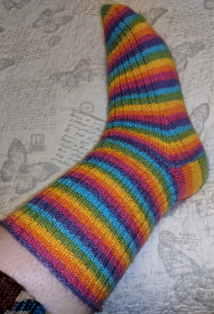 Rainbow stripy socks - outside view
