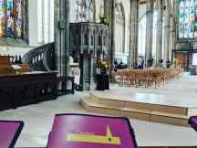 Hull Minster pulpit and view from the choir stalls
